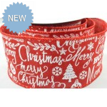 63mm Wired Merry Christmas & Snowflakes Burlap Ribbon Red