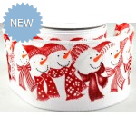 62mm Wired Snowman Printed Ribbon